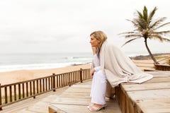 Blonde woman looking stock image