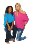 Blonde woman loves her rasta brother. Two nice model posing in studio Royalty Free Stock Image