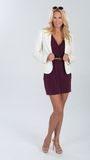 Blonde woman in maroon dress. Stock Photography