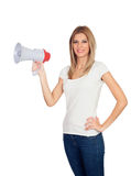 Blonde woman with megaphone Royalty Free Stock Photography