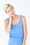 Blonde woman with neck pain Royalty Free Stock Images
