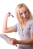 Blonde woman with note pad. Isolated. #13. Blonde woman with note pad and a pen, miss creativity. Isolated on white. #13 stock photography