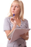 Blonde woman with note pad. Isolated. #8 Stock Photos