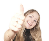 Blonde woman with ok gesture stock photo