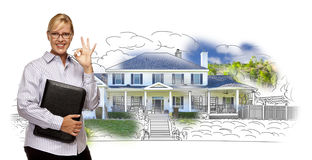 Blonde Woman with Okay Sign Over House Drawing and Photo. Woman with Okay Sign and File Folder Over House Drawing and Photo Combination on White vector illustration