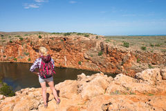 Blonde Woman Outback River Exmouth Australia Stock Image