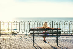Blonde woman outdoors Royalty Free Stock Photos