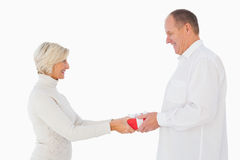 Blonde woman passing gift to her partner Stock Photography