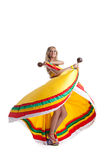 Blonde woman performing mexican dance Royalty Free Stock Image