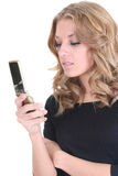 Blonde woman with phone Royalty Free Stock Photos