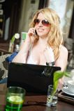 Blonde Woman on the Phone Stock Image