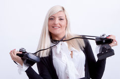Blonde woman photographing Royalty Free Stock Photos