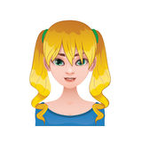 Blonde woman with pigtails. Lovely blonde woman with pigtails Stock Photo