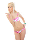 Blonde woman in pink lingerie Stock Image