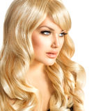 Blonde Girl Portrait. Blond Woman. Blonde Woman Portrait. Beautiful girl with long curly blond hair stock photos