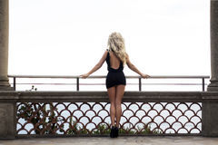 Blonde woman posing back, legs. Royalty Free Stock Photography