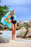 Blonde Woman Posing at the beach Royalty Free Stock Images