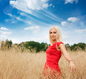 Blonde Woman Posing in the Field Stock Image