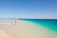 Blonde woman posing paradise beach Royalty Free Stock Photos
