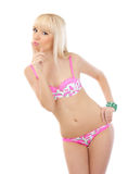 Blonde woman posing in pink lingerie Stock Photo