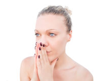 Blonde Woman Praying With Her Hands Together. Royalty Free Stock Images