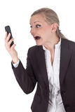 Blonde woman receiving bad message Royalty Free Stock Images