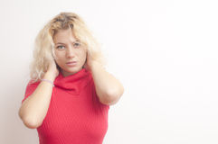 Blonde Woman with red dress Royalty Free Stock Photography