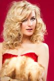 Blonde woman in red dress Royalty Free Stock Photo
