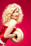 Blonde woman in red dress Stock Photo