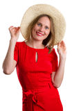 Blonde woman in red dress with straw hat, isolated on white Royalty Free Stock Images