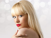 Blonde woman with red lips Royalty Free Stock Photography