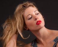 Blonde Woman With Red Lips Royalty Free Stock Photo