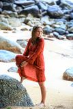Blonde Woman in Red Wet Dress at rainig day Stock Images