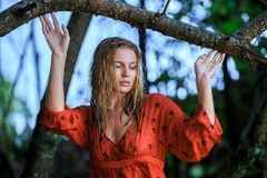 Blonde Woman in Red Wet Dress at rainig day Stock Image
