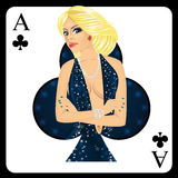 Blonde woman representing ace of clubs card from poker game Stock Photography