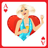 Blonde woman representing ace of hearts card from poker game Stock Images