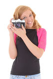 Blonde woman with retro camera Royalty Free Stock Photo