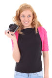 Blonde woman with retro camera Stock Photo