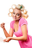 Blonde woman with rollers Stock Photo