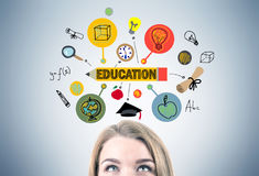 Blonde woman s head and an education sketch Stock Images