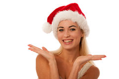 Blonde woman with santa claus hat Royalty Free Stock Image