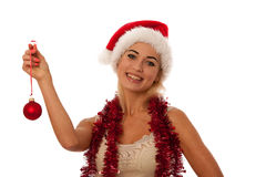 Blonde woman with santa claus hat Stock Image