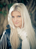 Blonde Woman with Shawl. Portrait of a blonde Woman with white Shawl Royalty Free Stock Photo