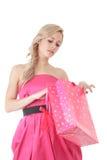 Blonde woman at shopping Royalty Free Stock Photos
