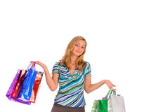 Blonde woman with shopping bags Stock Image