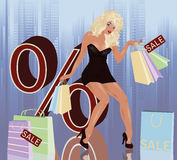 Blonde woman and shopping bags. Vector illustration Stock Photos