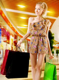 Blonde woman shopping Royalty Free Stock Photography