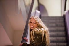 Blonde woman shopping touring in Europe Stock Image