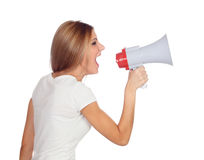 Blonde woman shouting with a megaphone. Isolated on a white background Royalty Free Stock Photo