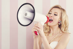 Blonde woman shouting Royalty Free Stock Photo